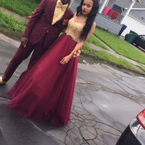 Clarisse Dresses Beautiful Burgundy And Gold Prom Dress Poshmark